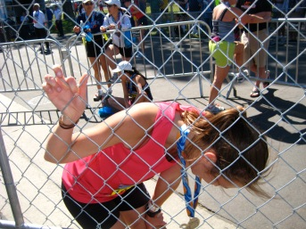Hubby was right there at the Finish Line.  I couldn't believe I did it!